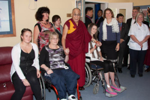 His Holiness the Dalai Lama at Christchurch Hospital with survivors of the earthquake in February' 2011.