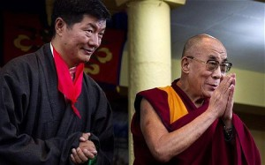 Lobsang Sangay, Sikyong of Tibet's government in exile, stands next to the Dalai Lama at his swearing-in ceremony in Dharmsala, India, 2011.  ©  Associated Press